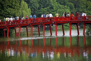 Cau The Huc Bridge in Hanoi, Vietnam