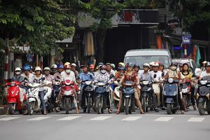 Scooters and traffic in Hanoi, Vietnam