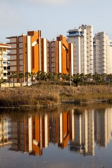 Apartment buildings at Guardamar in Spain.