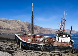A beached boat at Ardgour, Scotland.
