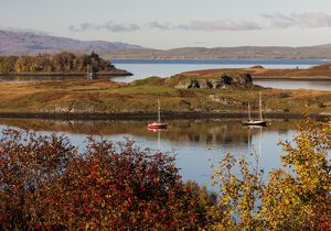 Boats moored near Connel in Argyll and Bute, Scotland.