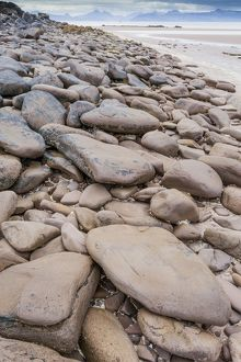 A boulder-strewn beach in Applecross, Scotland