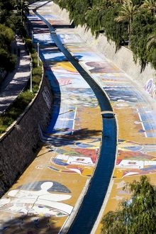 The canalised Vinalopó River in Elche, Spain.