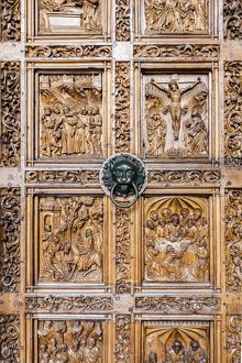A carved door at the cathedral in Konstanz, Germany.