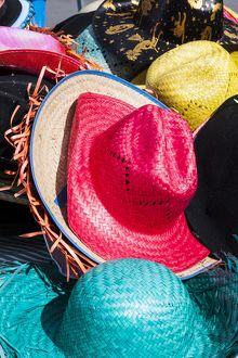 Colourful hats on sale in Peñíscola, Spain.