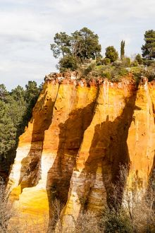 Colourful ochre cliffs at Rousillon in France.