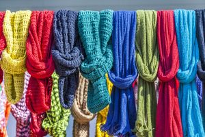 Colourful scarves at Nules, Spain.