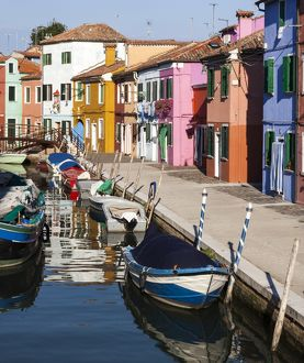 A colourful street on the island of Burano near Venice