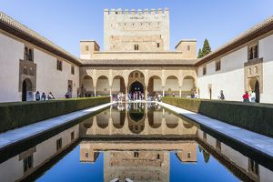 The Court of the Myrtles at the Alhambra Palace in Spain.