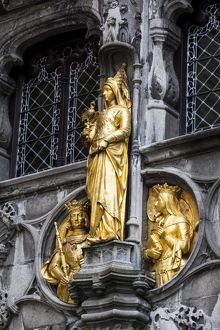 Golden statues at the Basilica of the Holy Blood in Bruges, Belgium