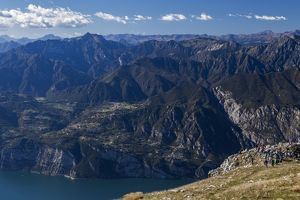 Lake Garda and the Dolomite mountains from the summit of Monte Baldo