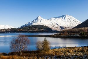 The Pap of Glencoe and Mam na Gualainn from Ballachulish, Highland Region, Scotland.