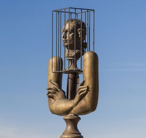 A sculpture of the Marquis de Sade in Lacoste, France