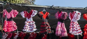 Selling dresses in Santa Pola, Spain.