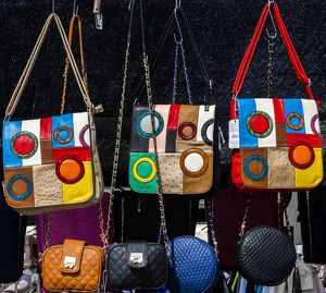 Selling handbags in Santa Pola, Spain.