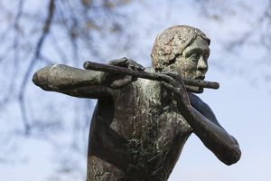 Statue of a flautist in Thorn, Netherlands.