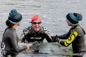 A swimmer finishing the first leg of the 2014 Celtman Triathlon.