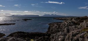 The view to Eigg and Rum from Arisaig, Scotland.