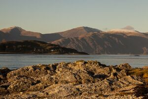 The view to Kingairloch from Port Appin in Argyll and Bute, Scotland.