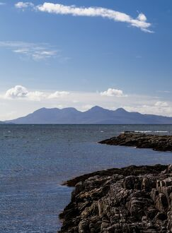 The view to Rum from Arisaig, Scotland.