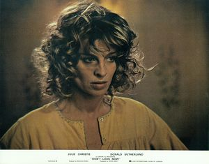 A portrait of Julie Christie used as a lobby card for Don't Look Now (1973)