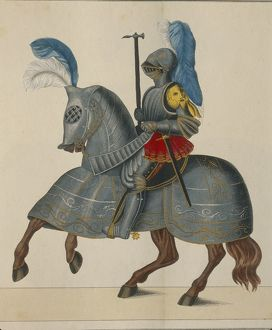 history/militaria/16th century german knight amour scoring print