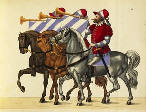 history/militaria/16th century german trumpet players wearing colors