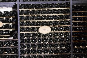 1995 bottles of wine on wine rack, close-up