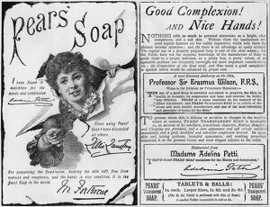 Advertisment for Pears' soap using endorsements from famous people including