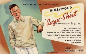 Advertisement for the Rogue Shirt. ca. 1941, Hollywood, Los Angeles, California, USA