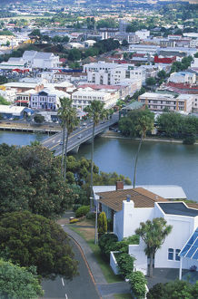 Aerial view of Wanganui and the city bridge from Durie Hill, South of the North Island