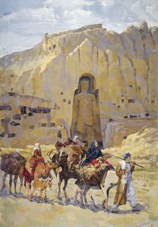Afghan nomad family in front of one of two Buddhas of Bamiyan, 1950, Painting
