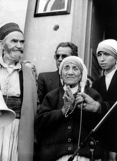 Albanian-born mother teresa at the opening of the muslim bectashian center in tirana