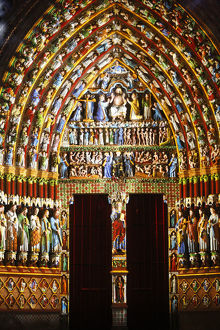 Amiens cathedral illumination Last judgment gate