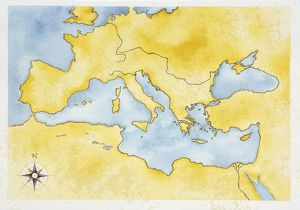Ancient Rome, map of Mediterranean Basin, illustration