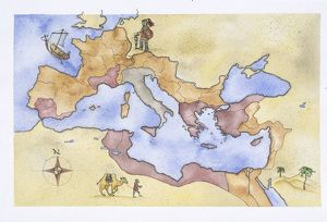 Ancient Rome, map of Roman Empire, illustration
