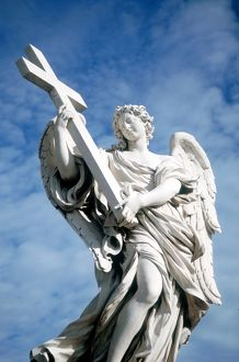 Angel carrying cross. From bridge opposite Castel St Angelo, Rome, Italy