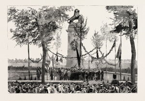 THE ANNIVERSARY OF THE BATTLE OF WATERLOO, THE STATUE AT QUATRE BRAS, BELGIUM, engraving