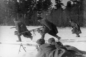 Anti-tank rifle men of the 'x' lithuanian unit taking up new firing positions