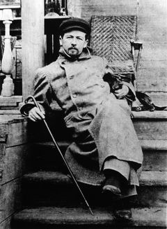Anton chekhov, russian author, with his dachshund quinine, may 1897, at melikhovo
