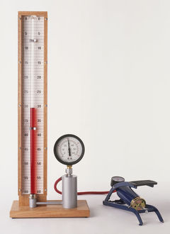 Apparatus to measure pressure with foot pump showing Boyle's Law, the volume