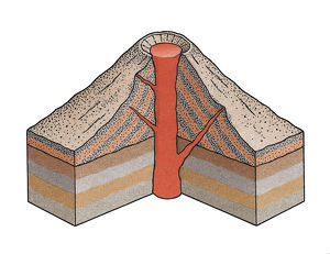 Artwork cross-section diagram of a volcano showing the vent, magma, strata and a