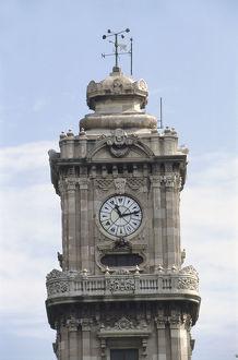 Asia, Turkey, Istanbul, detail of the Dolmabahce Clocktower, hands on face pointing to 11:13