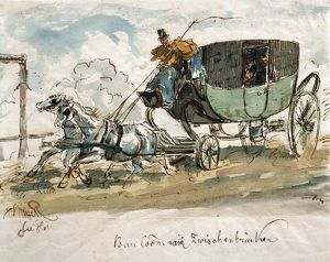 Austria, Stagecoach travel, ink drawing