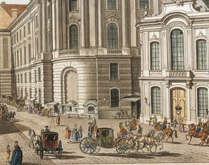 Austria, Vienna, Coaches by the Burgtheater, color engraving, detail