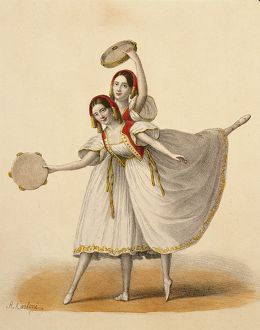 Austria, Vienna, Two dancers perfoming the double step, color engraving