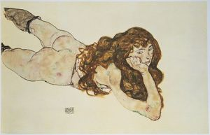 Austria, Vienna, Female Nude Lying on her Stomach,