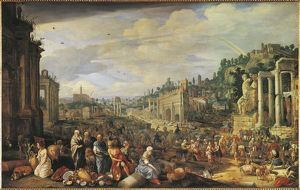 Austria, Vienna, oil on canvas painting of Campo Vaccino in Rome, 1612