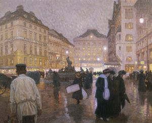 Austria, Vienna, people in new market square at night