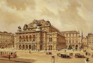Austria, Vienna, View of the Wiener Staatsoper (Vienna State Opera), color print, 1925